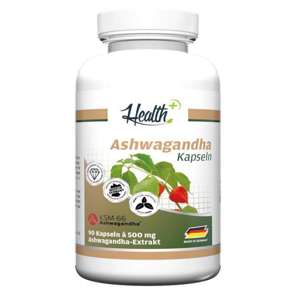 HEALTH+ ASHWAGANDHA mit KSM-66 | 90 Kapseln