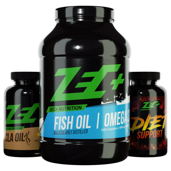 ZEC+ FATBURNER-PAKET mit CLA-OIL-Kapseln FISCHÖL-OMEGA3-Kapseln und DIET SUPPORT-Kapseln